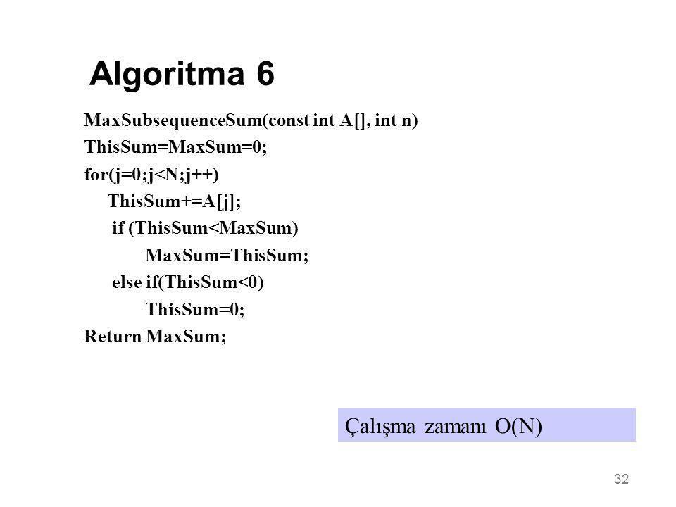 Algoritma 6 Çalışma zamanı O(N)