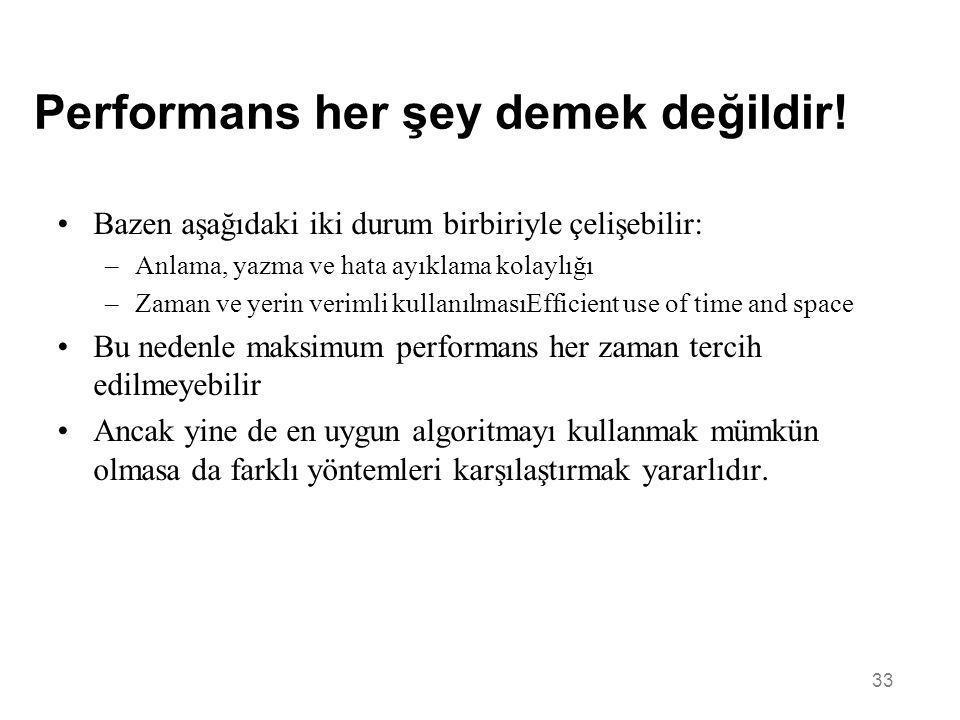 Performans her şey demek değildir!