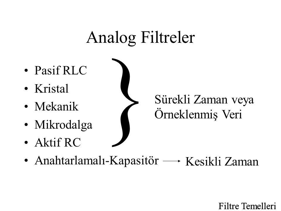 } Analog Filtreler Pasif RLC Kristal Mekanik Mikrodalga