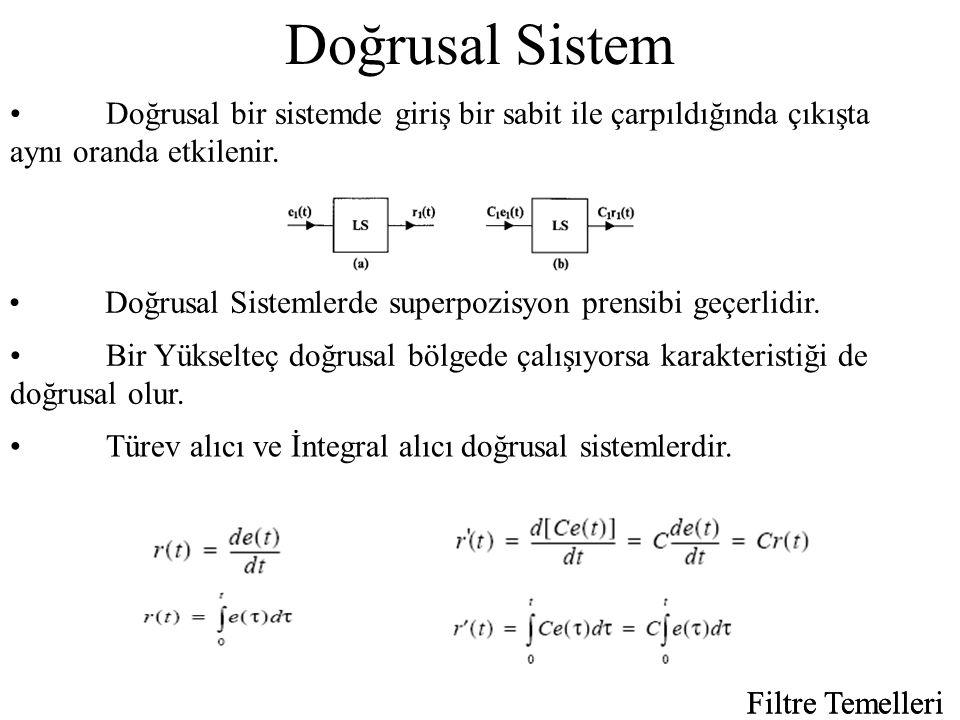 Doğrusal Sistem Doğrusal bir sistemde giriş bir sabit ile çarpıldığında çıkışta aynı oranda etkilenir.