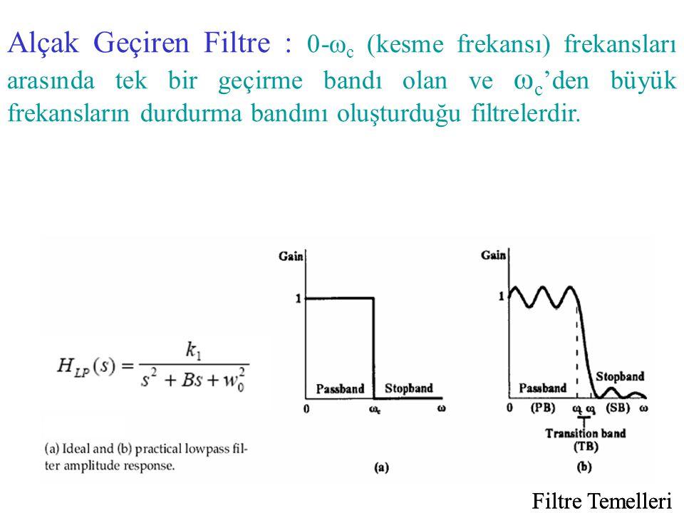 Alçak Geçiren Filtre : 0-ωc (kesme frekansı) frekansları arasında tek bir geçirme bandı olan ve ωc'den büyük frekansların durdurma bandını oluşturduğu filtrelerdir.