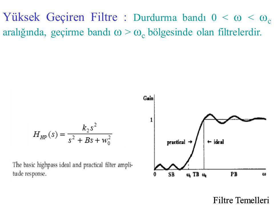 Yüksek Geçiren Filtre : Durdurma bandı 0 < ω < ωc aralığında, geçirme bandı ω > ωc bölgesinde olan filtrelerdir.