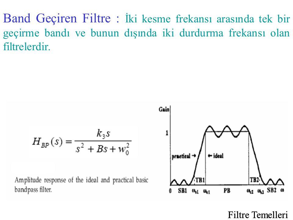 Band Geçiren Filtre : İki kesme frekansı arasında tek bir geçirme bandı ve bunun dışında iki durdurma frekansı olan filtrelerdir.