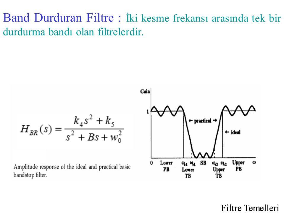 Band Durduran Filtre : İki kesme frekansı arasında tek bir durdurma bandı olan filtrelerdir.