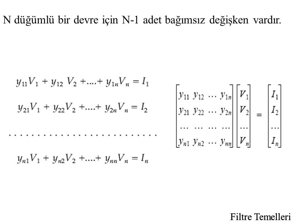 N düğümlü bir devre için N-1 adet bağımsız değişken vardır.