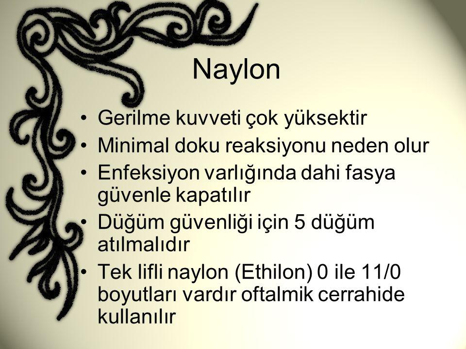 Naylon Gerilme kuvveti çok yüksektir