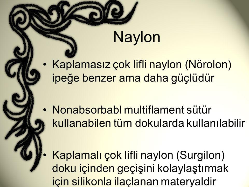 Naylon Kaplamasız çok lifli naylon (Nörolon) ipeğe benzer ama daha güçlüdür.