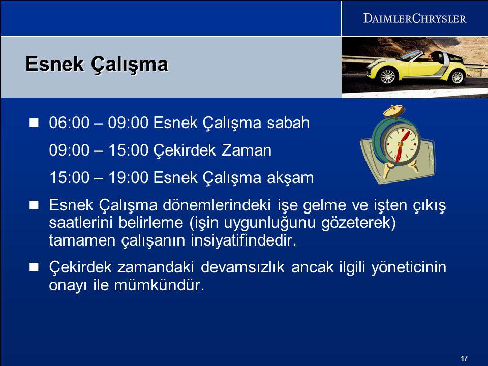 Esnek Çalışma 06:00 – 09:00 Esnek Çalışma sabah