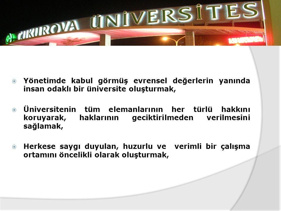 Yönetimde kabul görmüş evrensel değerlerin yanında insan odaklı bir üniversite oluşturmak,