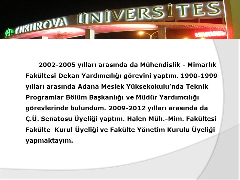 2002-2005 yılları arasında da Mühendislik - Mimarlık Fakültesi Dekan Yardımcılığı görevini yaptım.