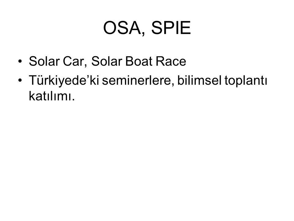 OSA, SPIE Solar Car, Solar Boat Race