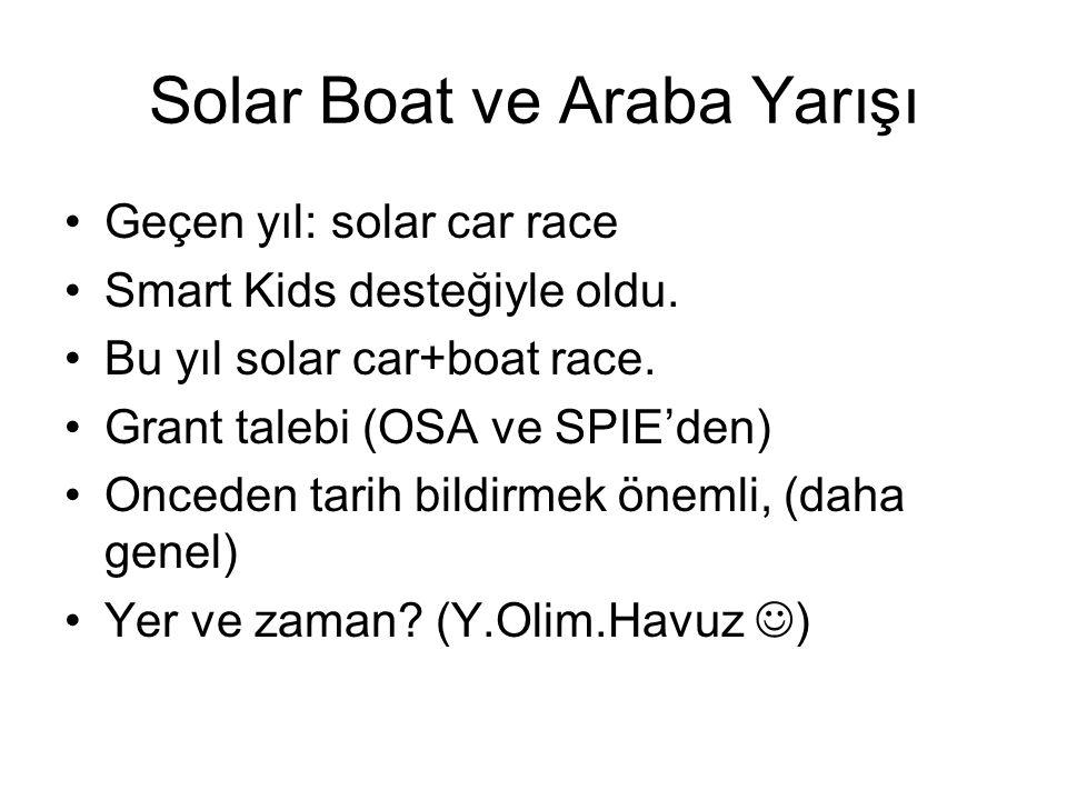 Solar Boat ve Araba Yarışı