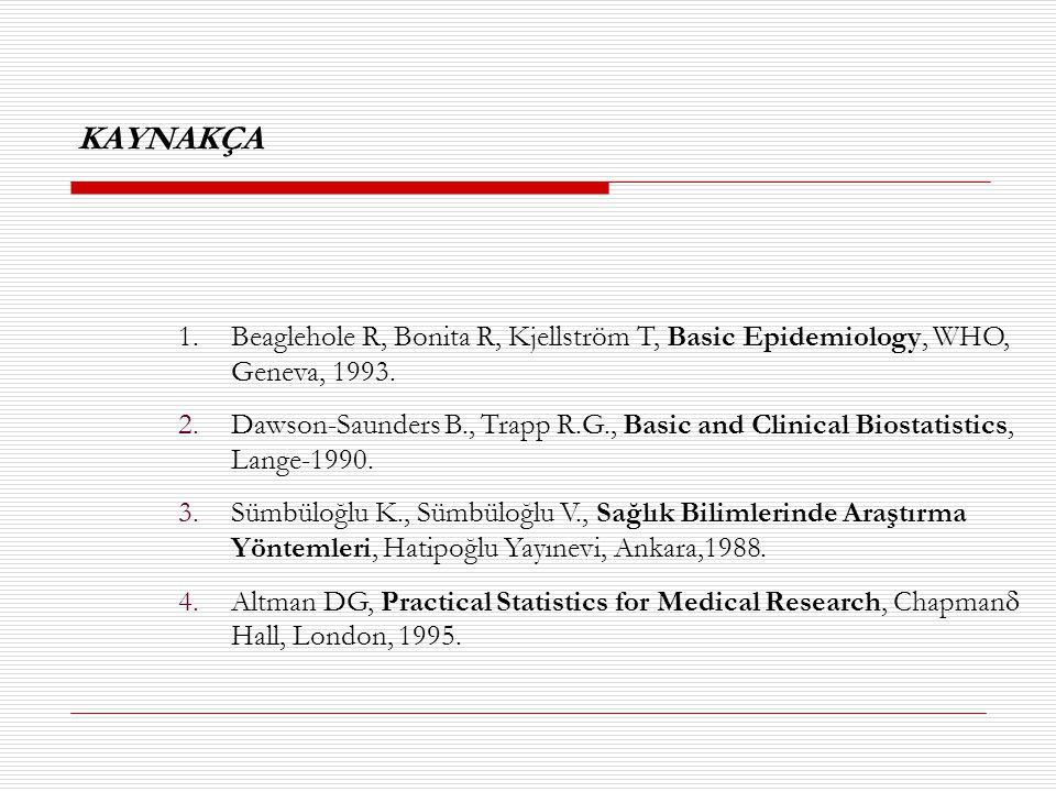 KAYNAKÇA Beaglehole R, Bonita R, Kjellström T, Basic Epidemiology, WHO, Geneva, 1993.