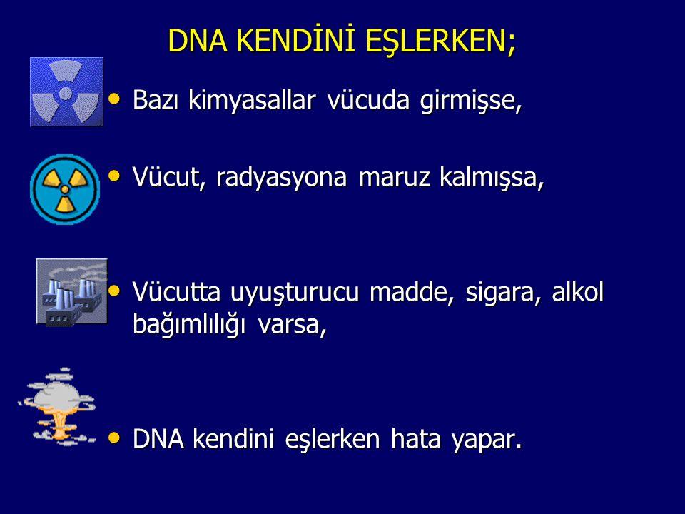 DNA KENDİNİ EŞLERKEN; Bazı kimyasallar vücuda girmişse,