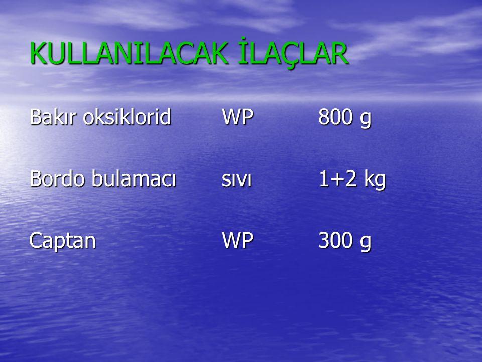 KULLANILACAK İLAÇLAR Bakır oksiklorid WP 800 g