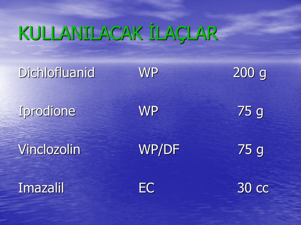 KULLANILACAK İLAÇLAR Dichlofluanid WP 200 g Iprodione WP 75 g
