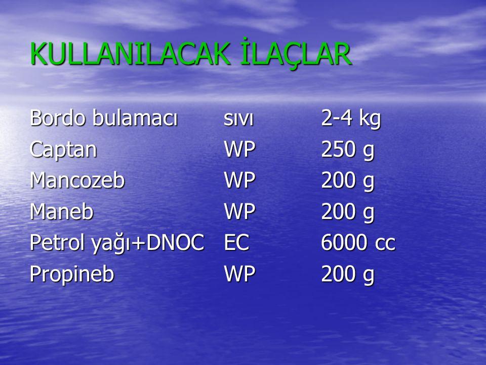 KULLANILACAK İLAÇLAR Bordo bulamacı sıvı 2-4 kg Captan WP 250 g