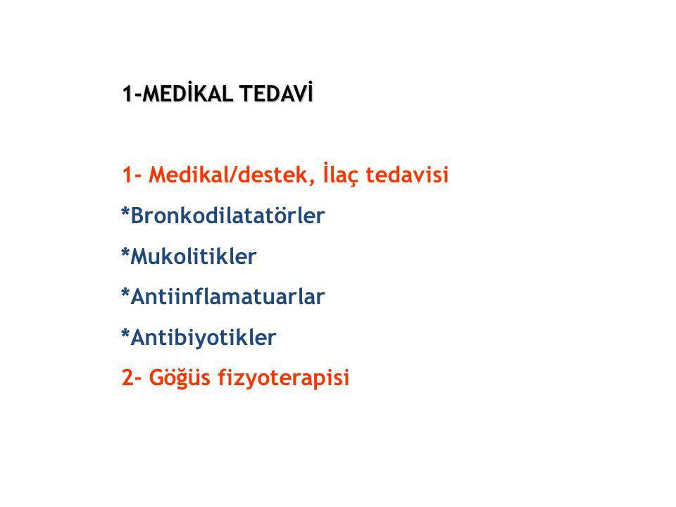 1-MEDİKAL TEDAVİ 1- Medikal/destek, İlaç tedavisi. Bronkodilatatörler
