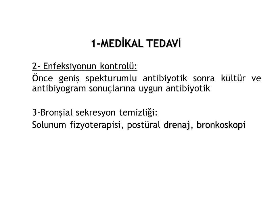 1-MEDİKAL TEDAVİ 2- Enfeksiyonun kontrolü: