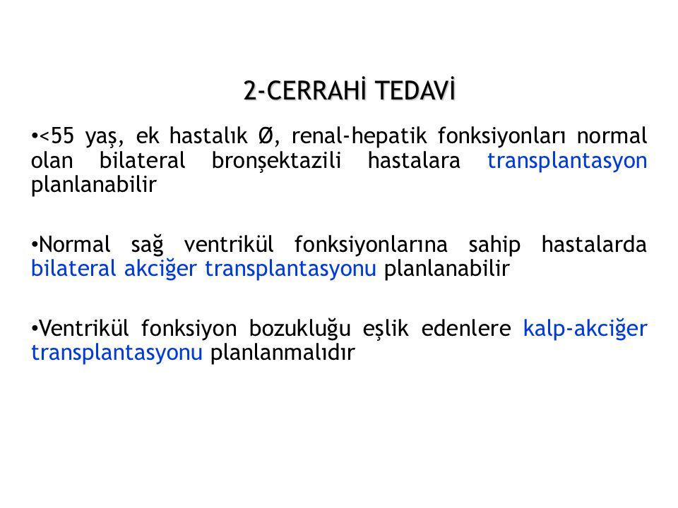 2-CERRAHİ TEDAVİ <55 yaş, ek hastalık Ø, renal-hepatik fonksiyonları normal olan bilateral bronşektazili hastalara transplantasyon planlanabilir.