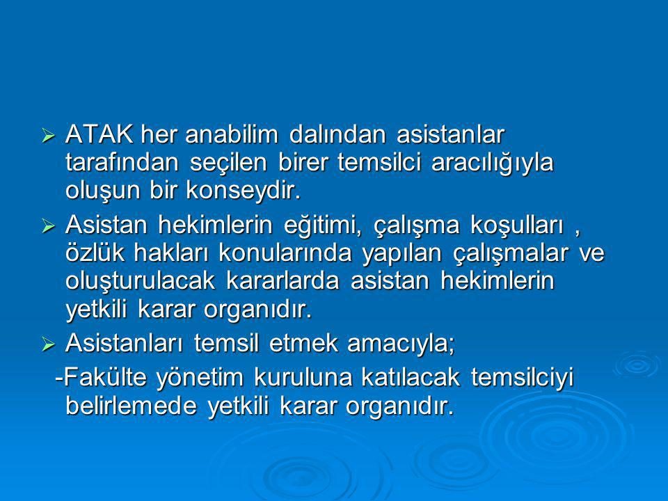 ATAK her anabilim dalından asistanlar tarafından seçilen birer temsilci aracılığıyla oluşun bir konseydir.