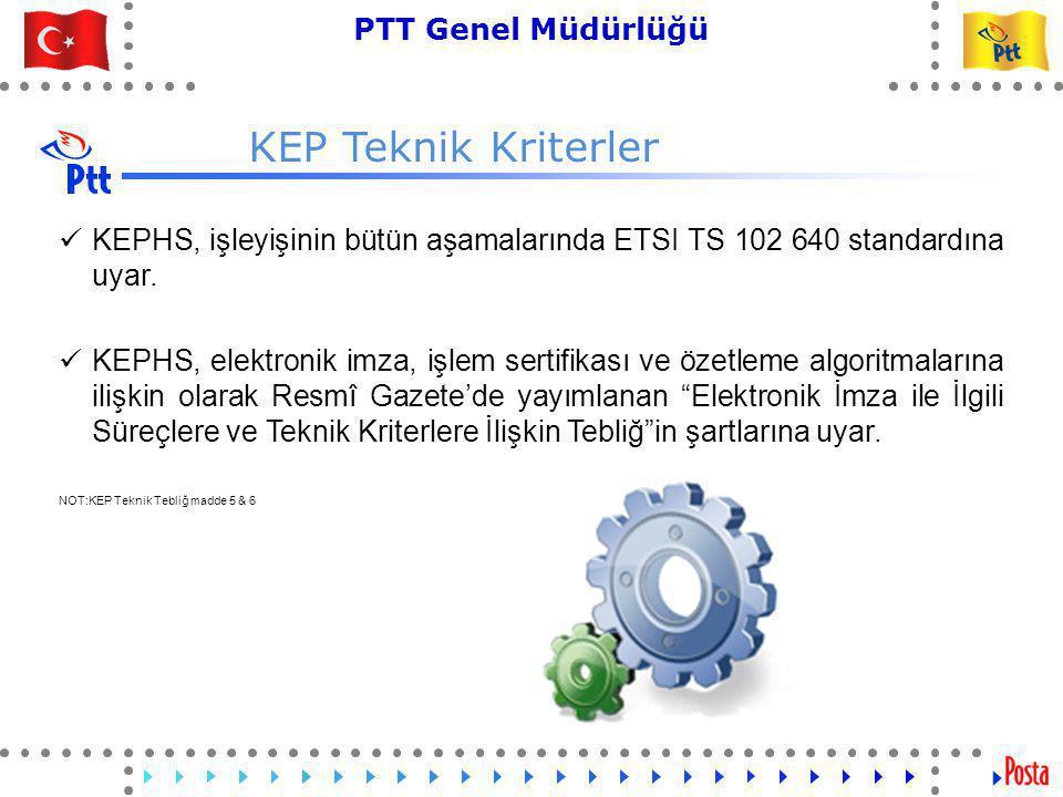 KEP Teknik Kriterler KEPHS, işleyişinin bütün aşamalarında ETSI TS 102 640 standardına uyar.