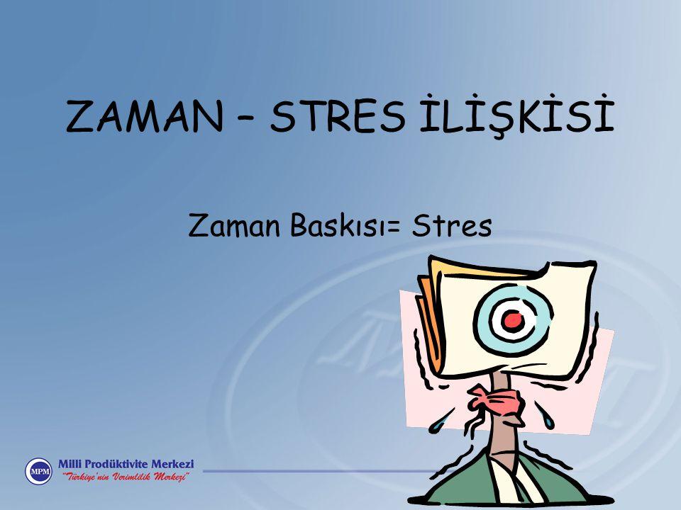 ZAMAN – STRES İLİŞKİSİ Zaman Baskısı= Stres