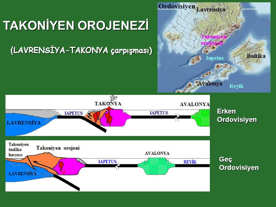 TAKONİYEN OROJENEZİ (LAVRENSİYA-TAKONYA çarpışması) Erken Ordovisiyen