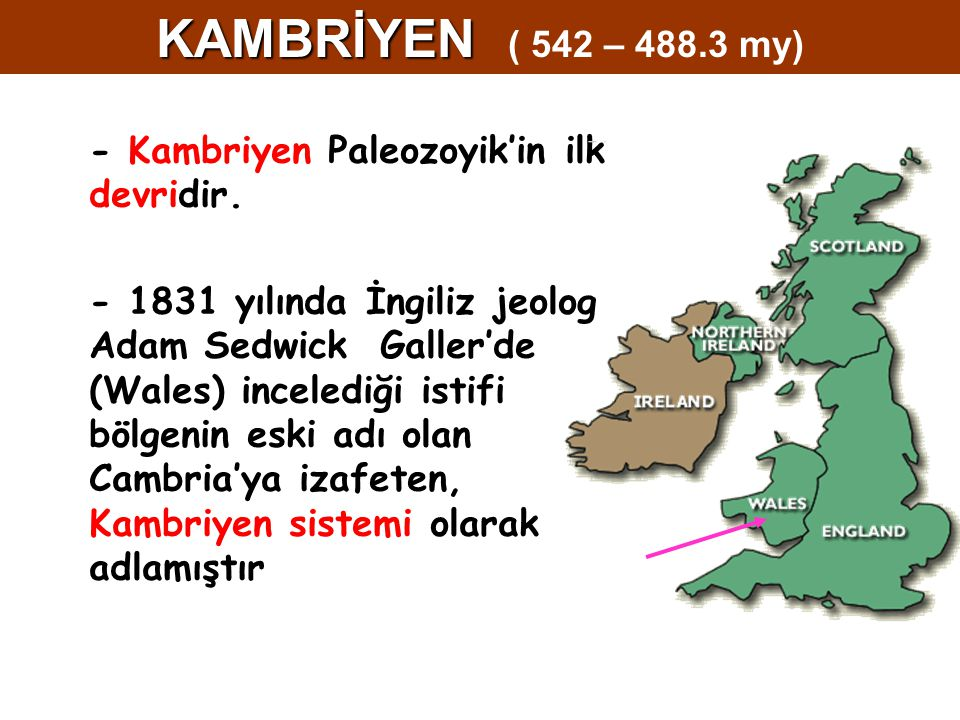 KAMBRİYEN ( 542 – 488.3 my) - Kambriyen Paleozoyik'in ilk devridir.