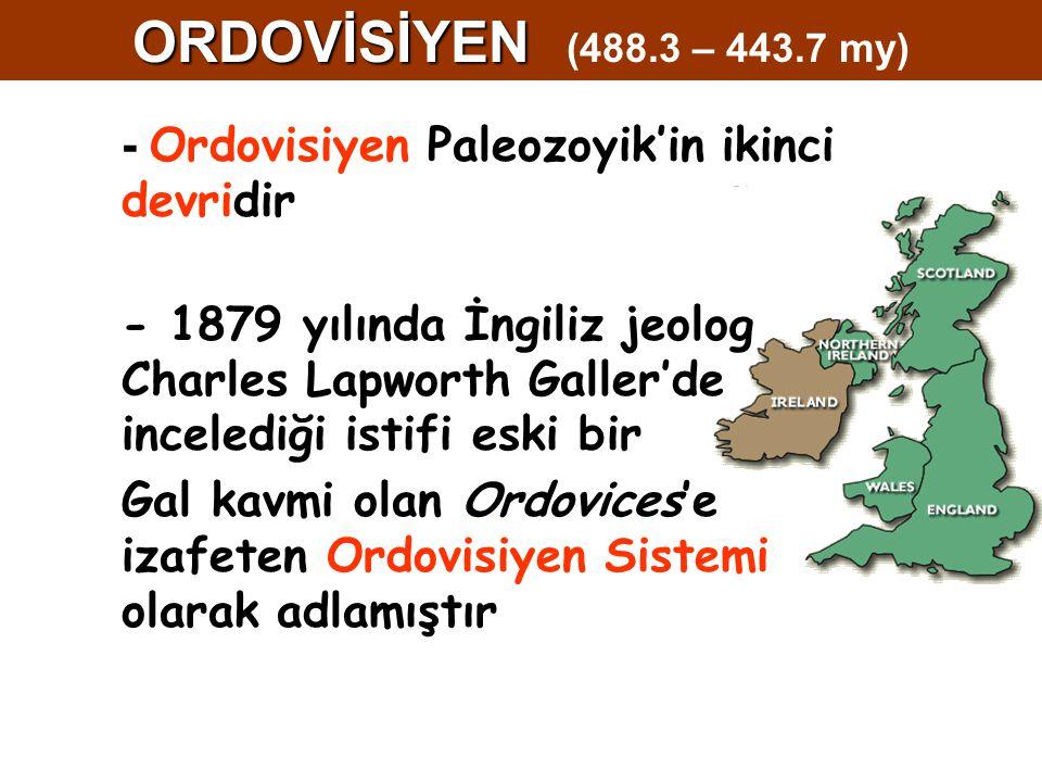ORDOVİSİYEN (488.3 – 443.7 my) - Ordovisiyen Paleozoyik'in ikinci devridir.