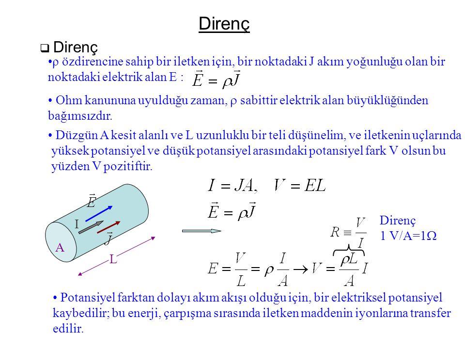 Direnç Direnç. ρ özdirencine sahip bir iletken için, bir noktadaki J akım yoğunluğu olan bir. noktadaki elektrik alan E :