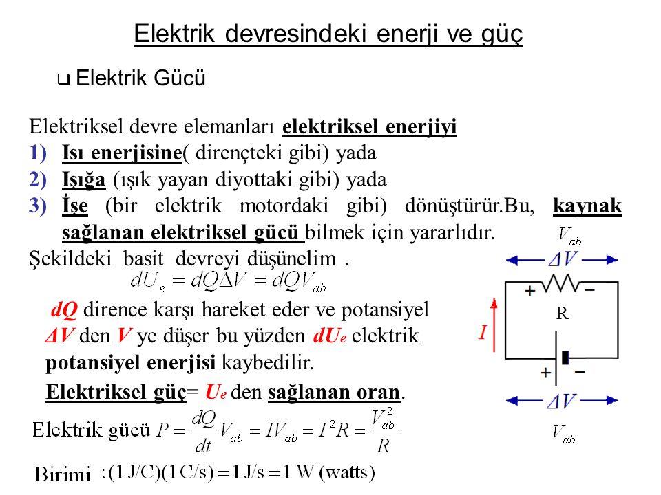 Elektrik devresindeki enerji ve güç