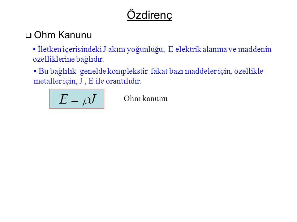 Özdirenç Ohm Kanunu. İletken içerisindeki J akım yoğunluğu, E elektrik alanına ve maddenin. özelliklerine bağlıdır.