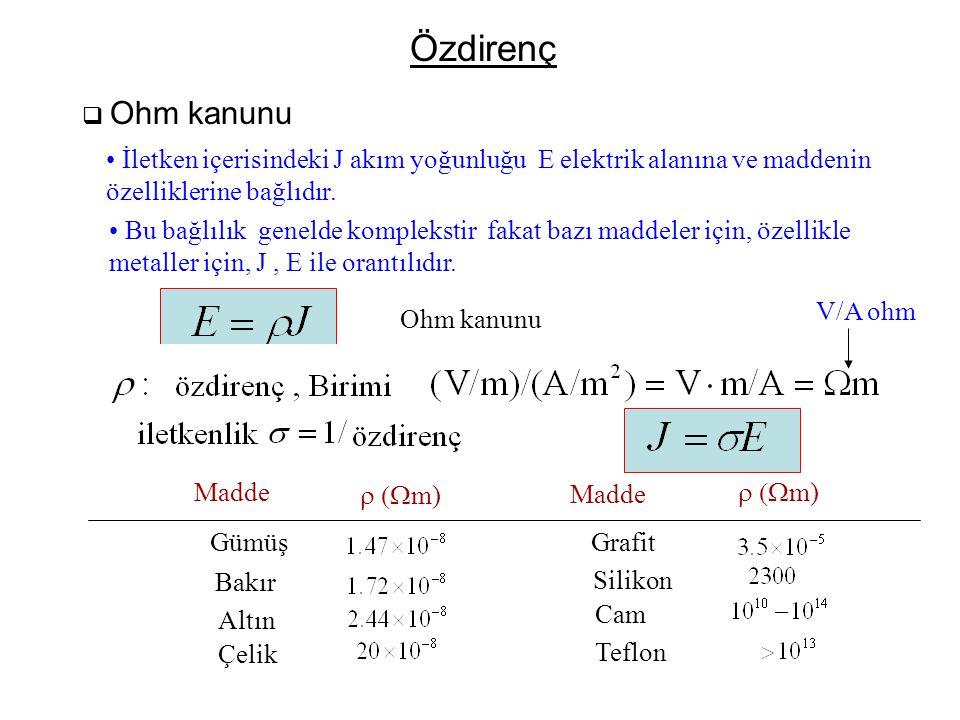 Özdirenç Ohm kanunu. İletken içerisindeki J akım yoğunluğu E elektrik alanına ve maddenin. özelliklerine bağlıdır.