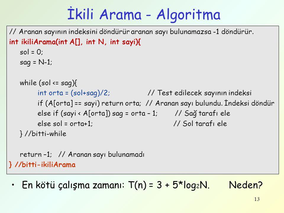 İkili Arama - Algoritma