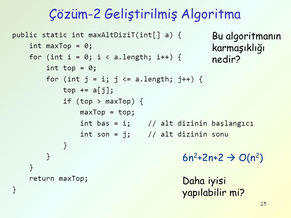 Çözüm-2 Geliştirilmiş Algoritma
