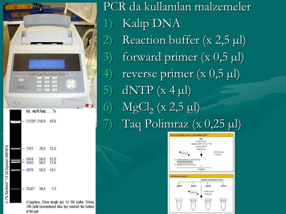 PCR da kullanılan malzemeler