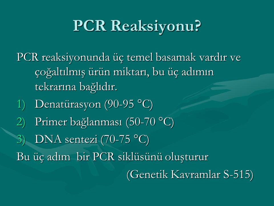 PCR Reaksiyonu PCR reaksiyonunda üç temel basamak vardır ve çoğaltılmış ürün miktarı, bu üç adımın tekrarına bağlıdır.