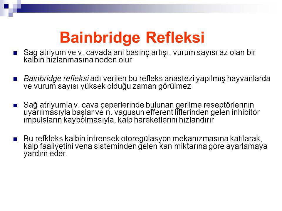 Bainbridge Refleksi Sag atriyum ve v. cavada ani basınç artışı, vurum sayısı az olan bir kalbin hızlanmasına neden olur.