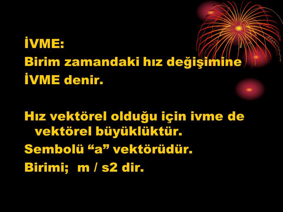 İVME: Birim zamandaki hız değişimine. İVME denir. Hız vektörel olduğu için ivme de vektörel büyüklüktür.
