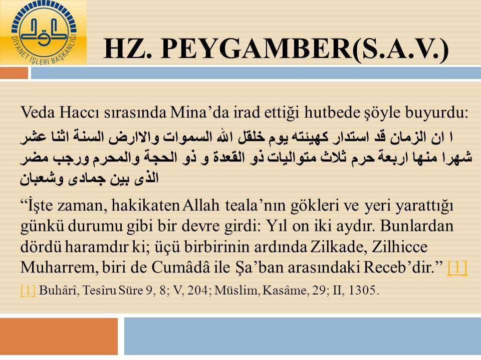 Hz. Peygamber(s.a.v.) Veda Haccı sırasında Mina'da irad ettiği hutbede şöyle buyurdu: