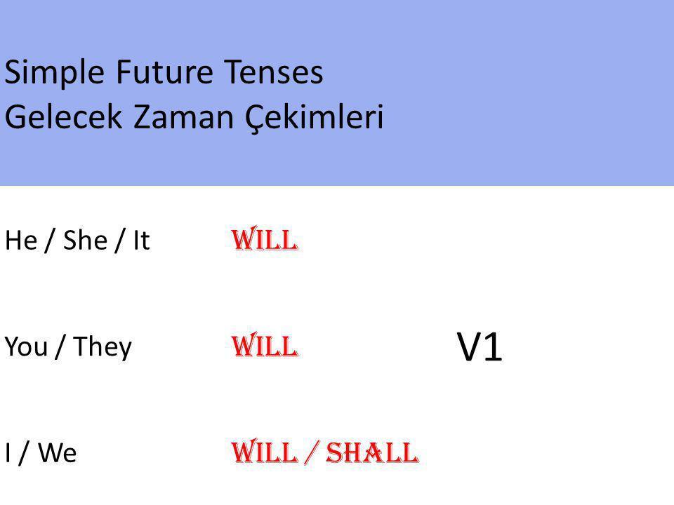 V1 Simple Future Tenses Gelecek Zaman Çekimleri He / She / It Will