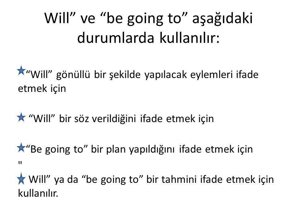 Will ve be going to aşağıdaki durumlarda kullanılır: