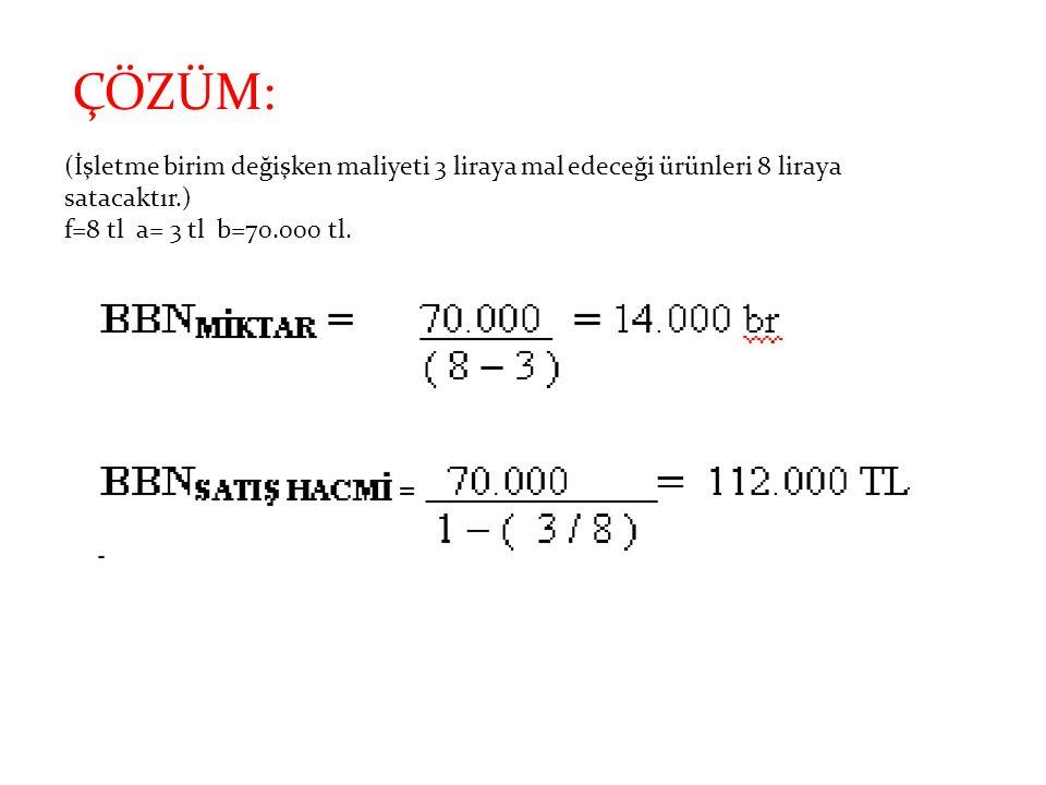 ÇÖZÜM: (İşletme birim değişken maliyeti 3 liraya mal edeceği ürünleri 8 liraya satacaktır.) f=8 tl a= 3 tl b=70.000 tl.