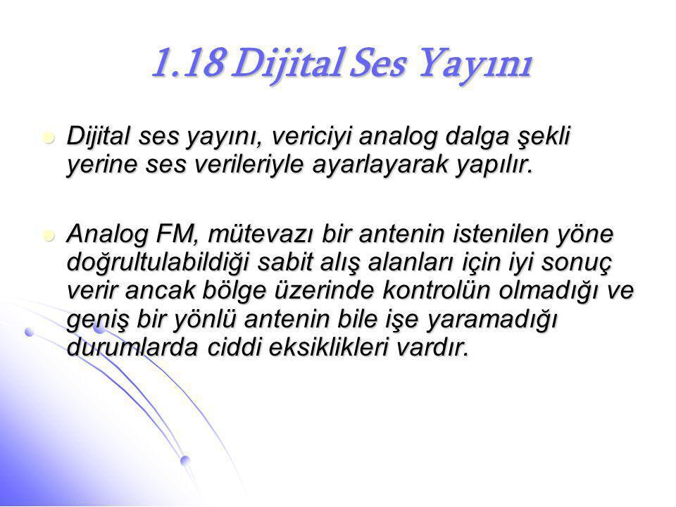 1.18 Dijital Ses Yayını Dijital ses yayını, vericiyi analog dalga şekli yerine ses verileriyle ayarlayarak yapılır.