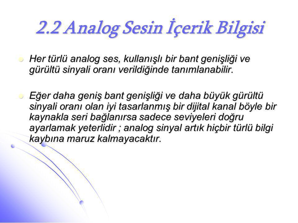 2.2 Analog Sesin İçerik Bilgisi