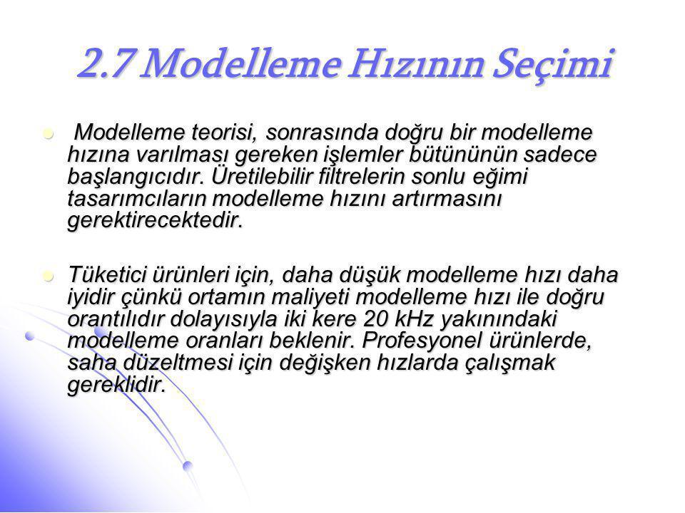 2.7 Modelleme Hızının Seçimi