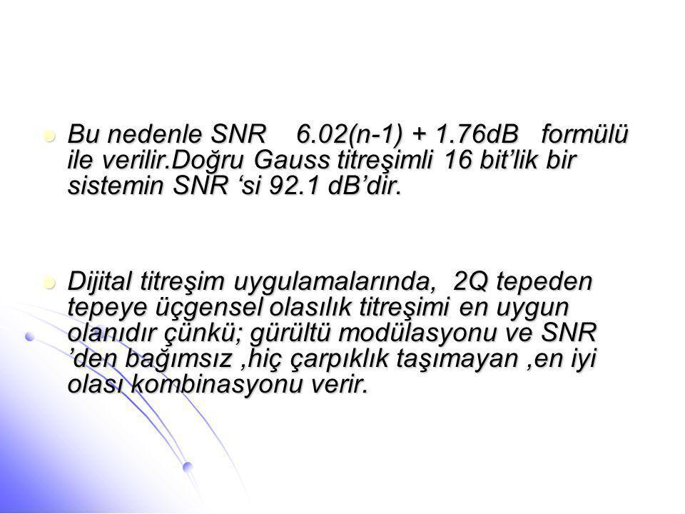 Bu nedenle SNR 6. 02(n-1) + 1. 76dB formülü ile verilir