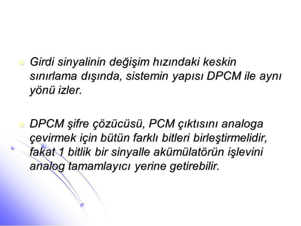Girdi sinyalinin değişim hızındaki keskin sınırlama dışında, sistemin yapısı DPCM ile aynı yönü izler.