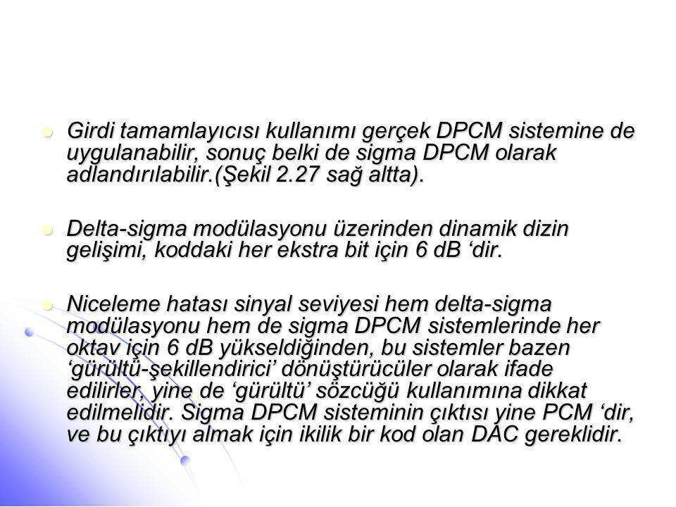 Girdi tamamlayıcısı kullanımı gerçek DPCM sistemine de uygulanabilir, sonuç belki de sigma DPCM olarak adlandırılabilir.(Şekil 2.27 sağ altta).